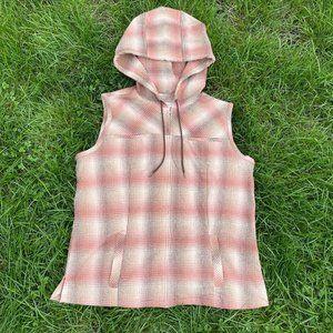 Pink Plaid Pendleton Wool Hooded Vest Zip Up